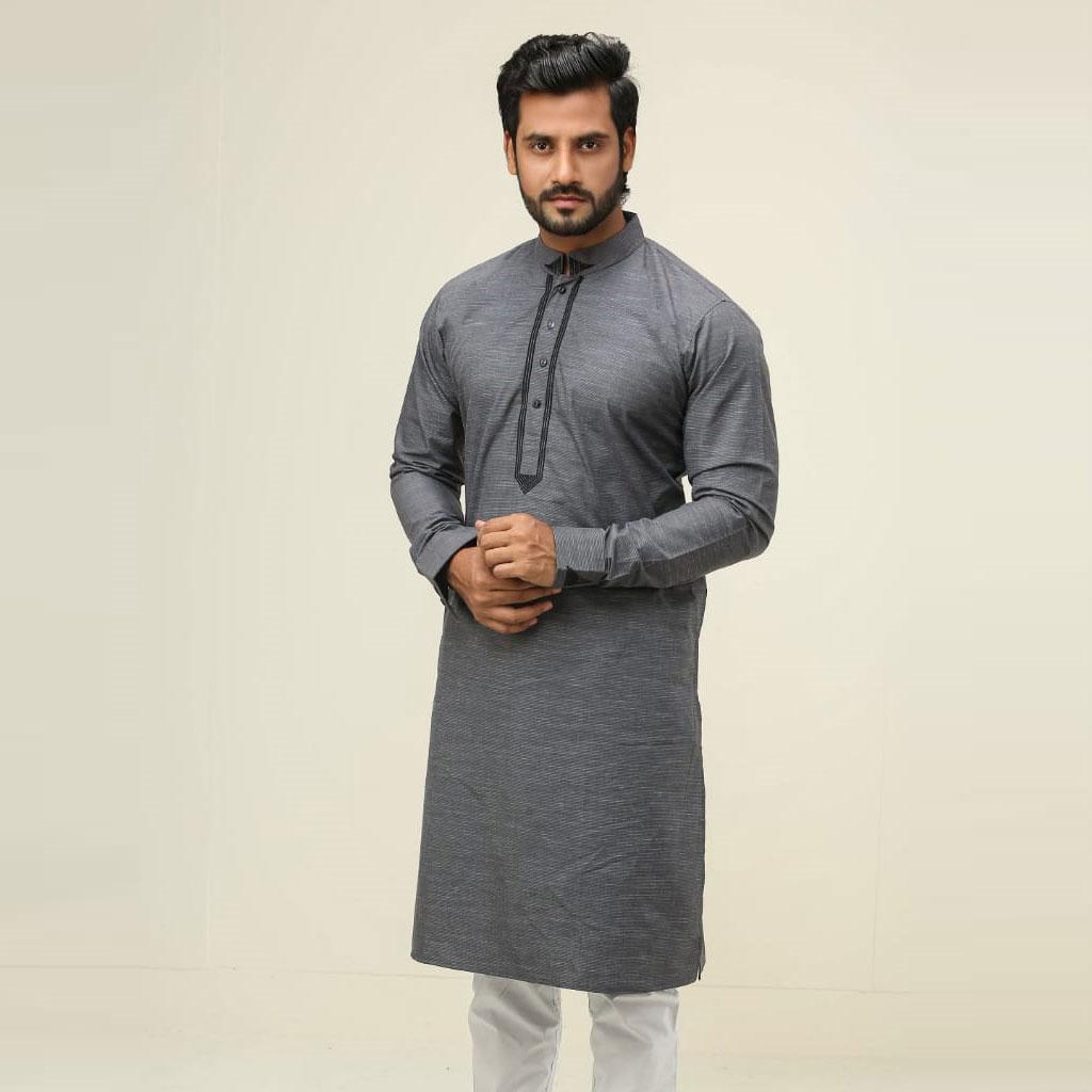 Khaki Punjabi For Men (ash) - K-123