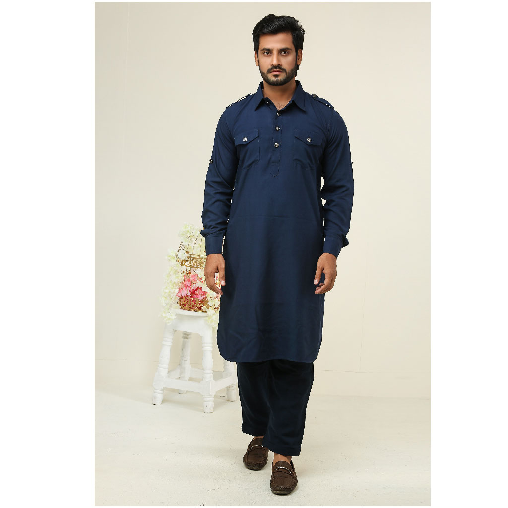 Khaki Kabli Punjabi For Men (navy Blue) - K-159