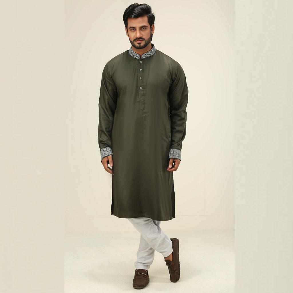 Khaki Punjabi For Men (dark Olive) - K-108