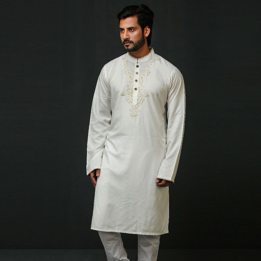Khaki Punjabi For Men (creame) - K-167