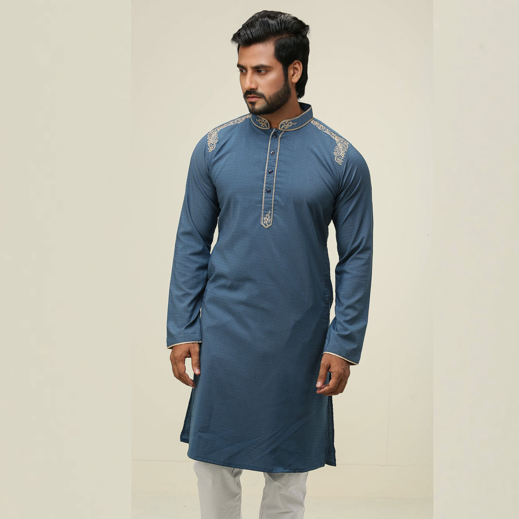 Khaki Punjabi For Men (denim Navy Blue) - K-117