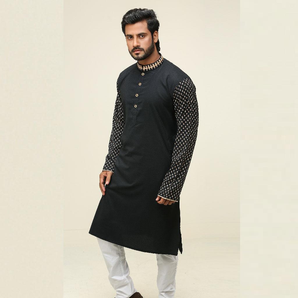 Khaki Punjabi For Men (black) - K-107