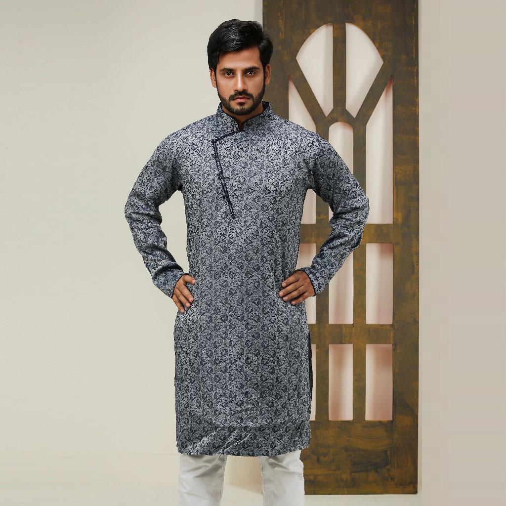 Khaki Punjabi For Men (ash) - K-135