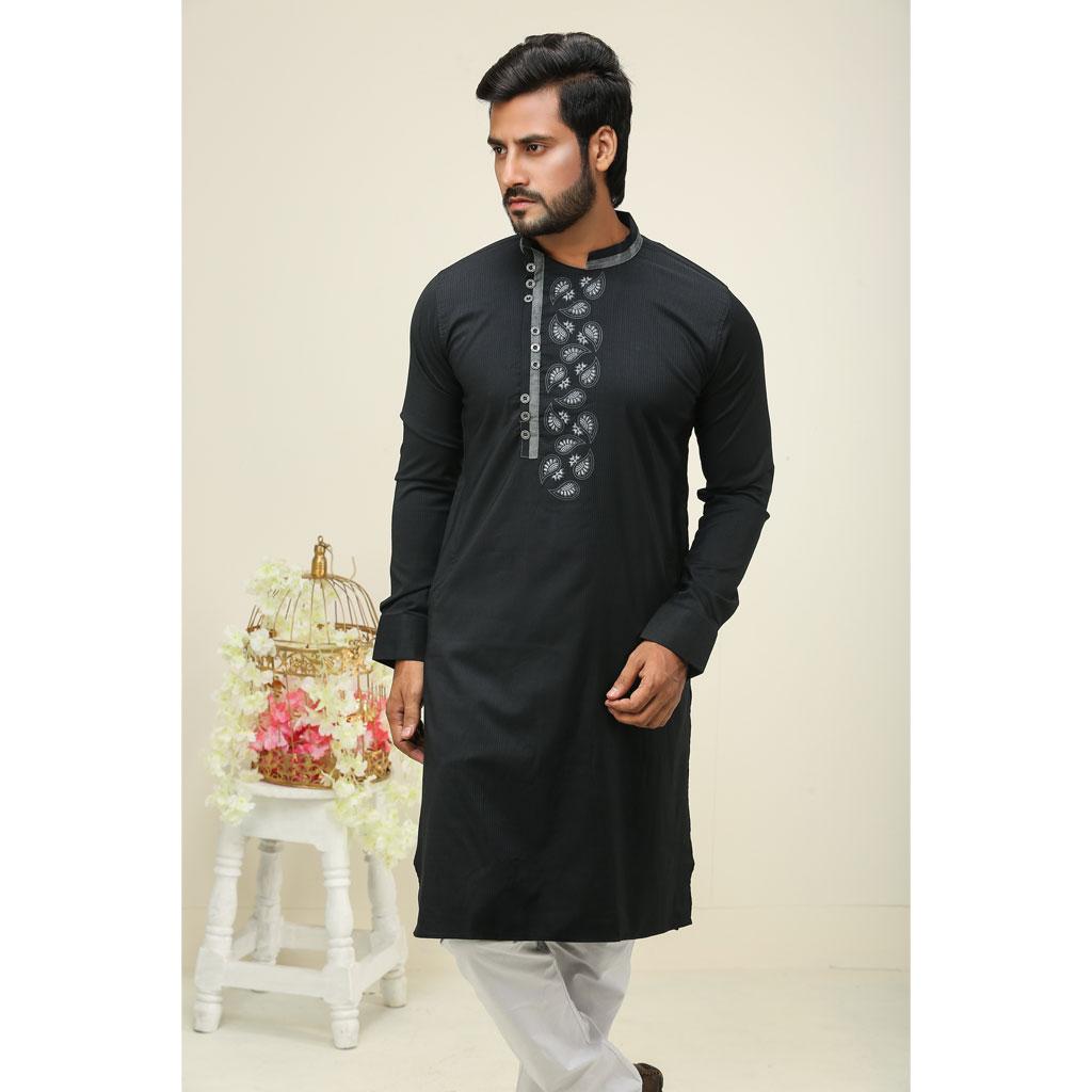 Khaki Punjabi For Men (black) - K-148