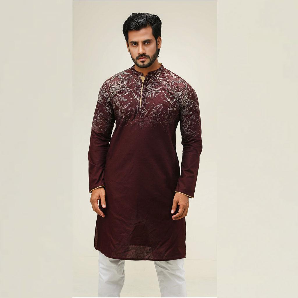 Khaki Punjabi For Men (maroon) - K-130
