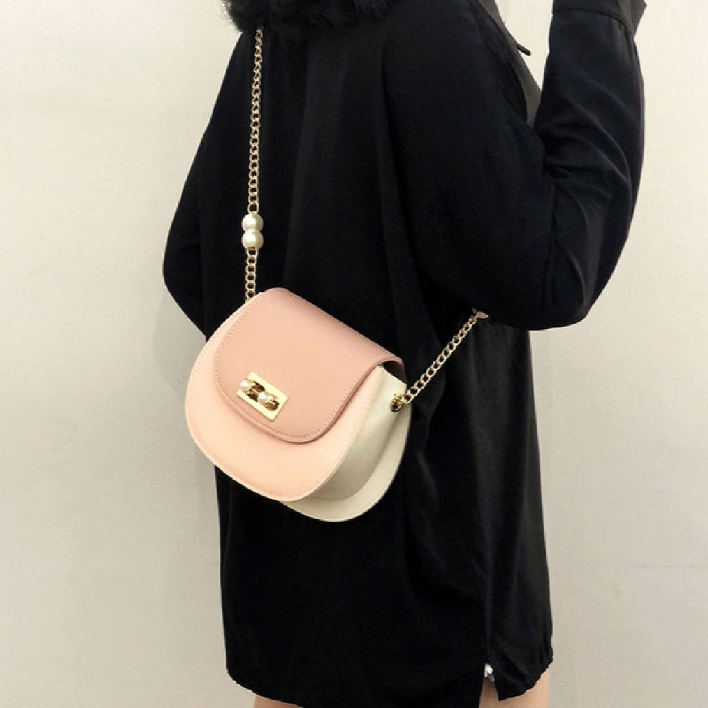 Handbag For Women With Chain Pearl Belt (pink)- Tcp73208