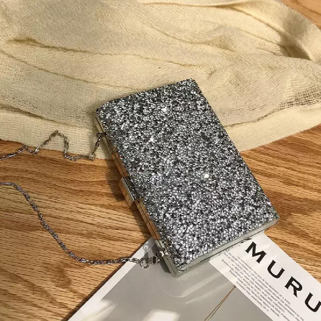 Rhinestone Shiny Clutch Bag (silver) - Tm002083