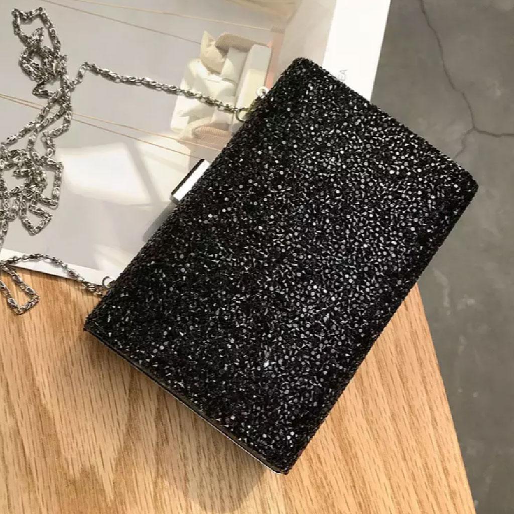Rhinestone Shiny Clutch Bag (black) - Tm002083