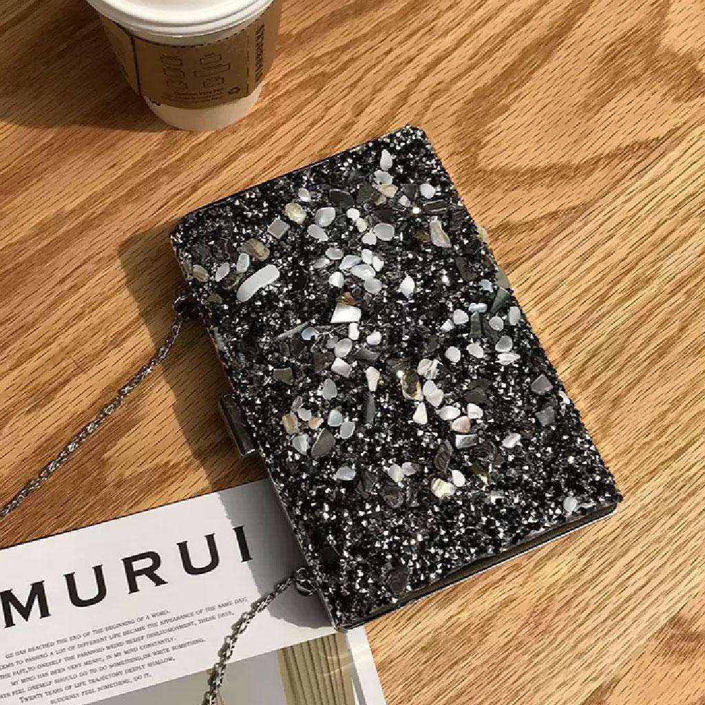 Rhinestone Shiny Clutch Bag (black & Silver) - Tm002083