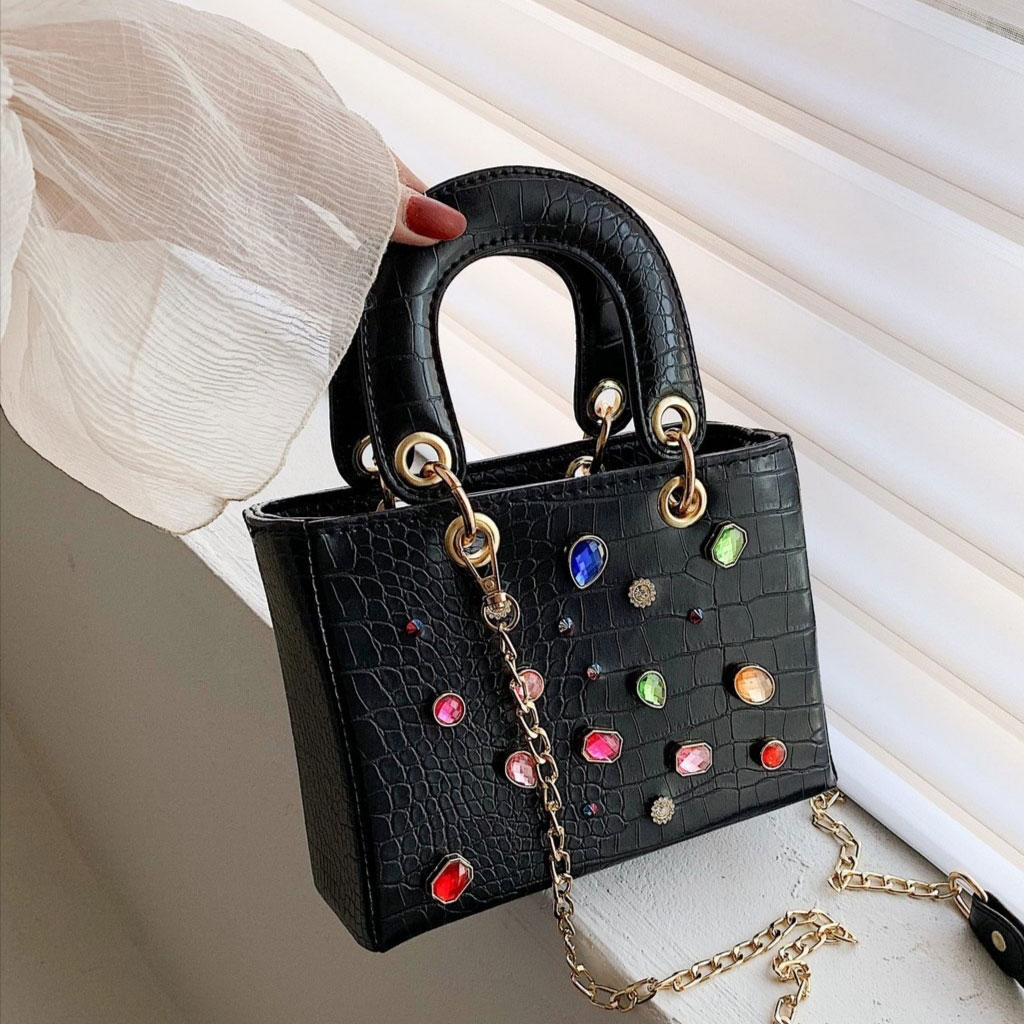 Crocodile Diamond Handbag (black) - Wtl837709p