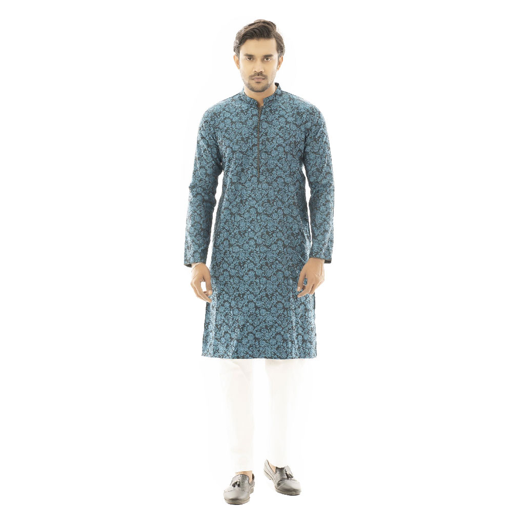 Twelve Premium Printed Punjabi For Men - Blue