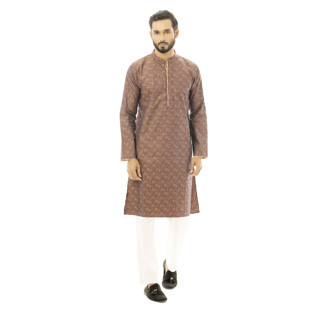 Twelve Premium Printed Punjabi For Men - Brown