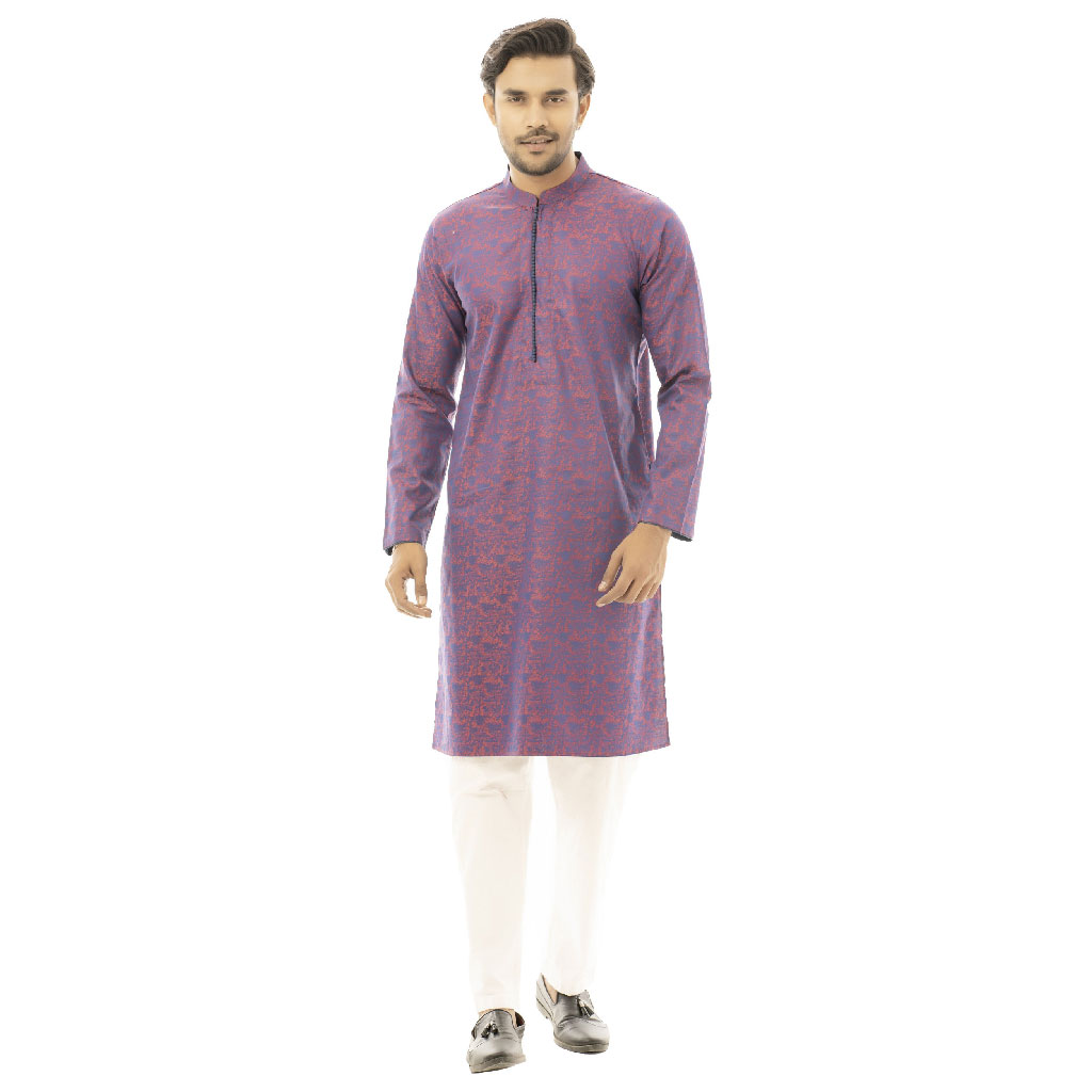 Twelve Premium Printed Punjabi For Men - Red