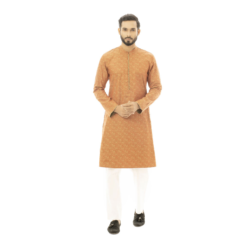 Twelve Premium Printed Punjabi For Men - Coffee