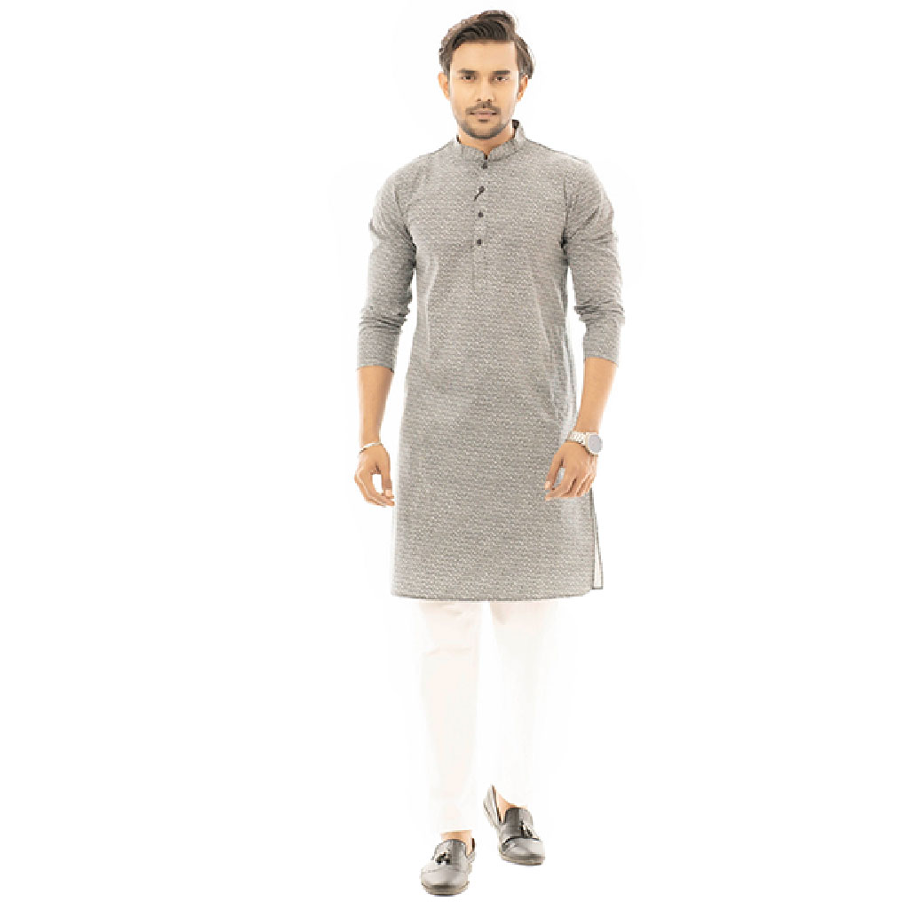 Twelve Premium Punjabi For Men - Navy Print 2