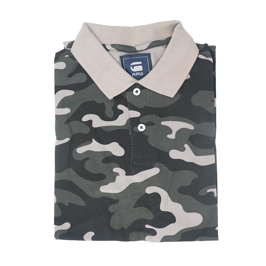 G-star Men's Exclusive Premium Quality Stylish Camouflage Army Print Polo T-shirt (black & Gray)