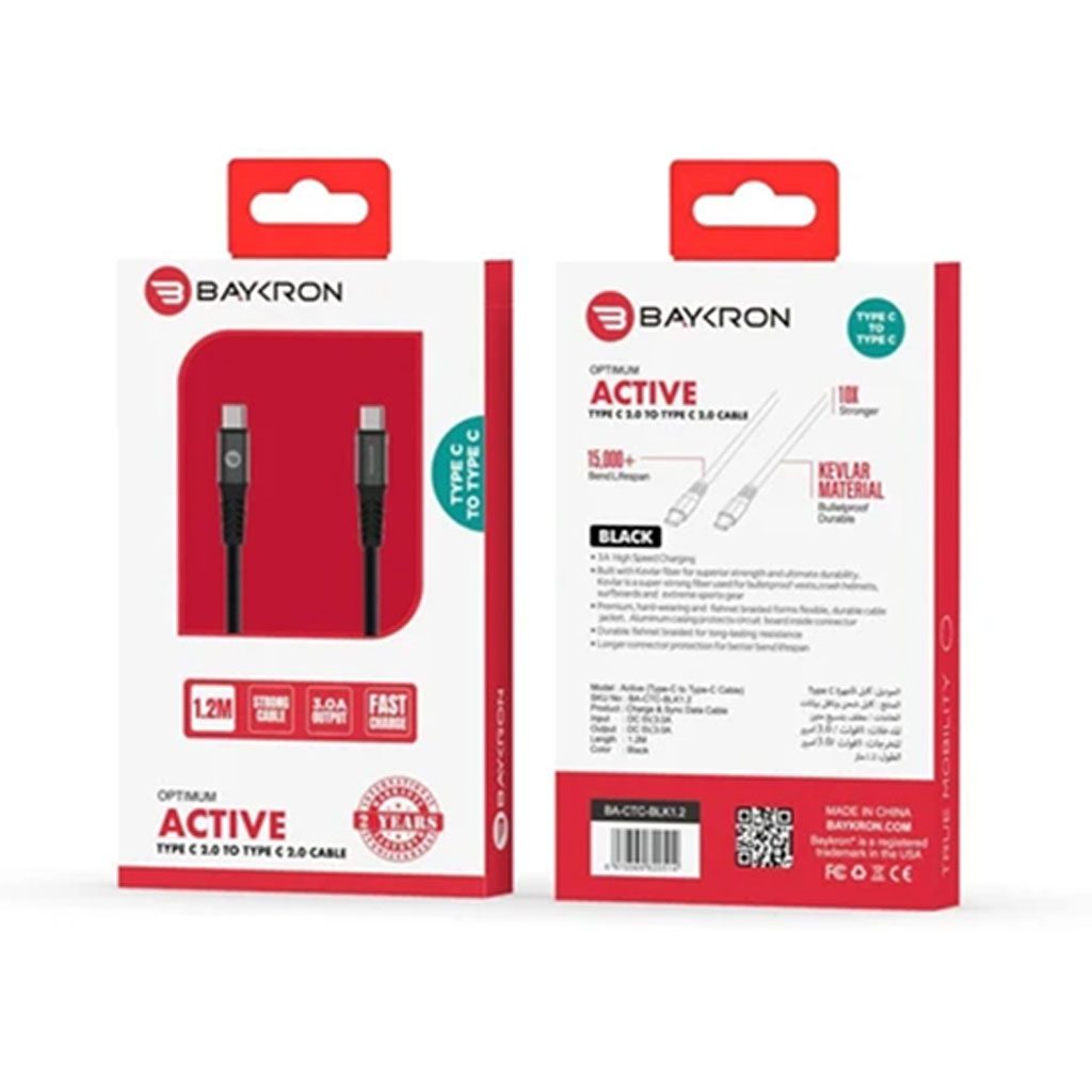 Baykron Cable Type C To Type C 1.2 M 3a - Black