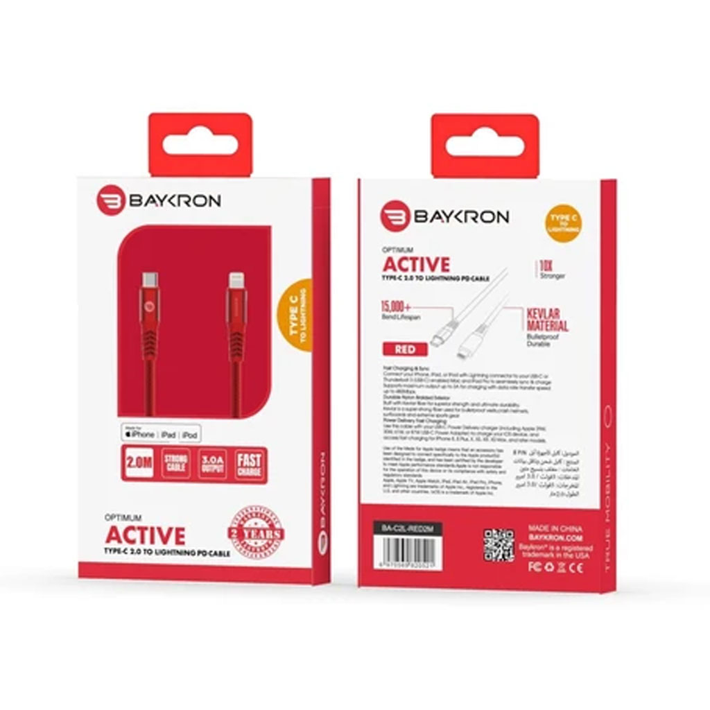 Baykron Cable Type C To Lightning 2 M - Red