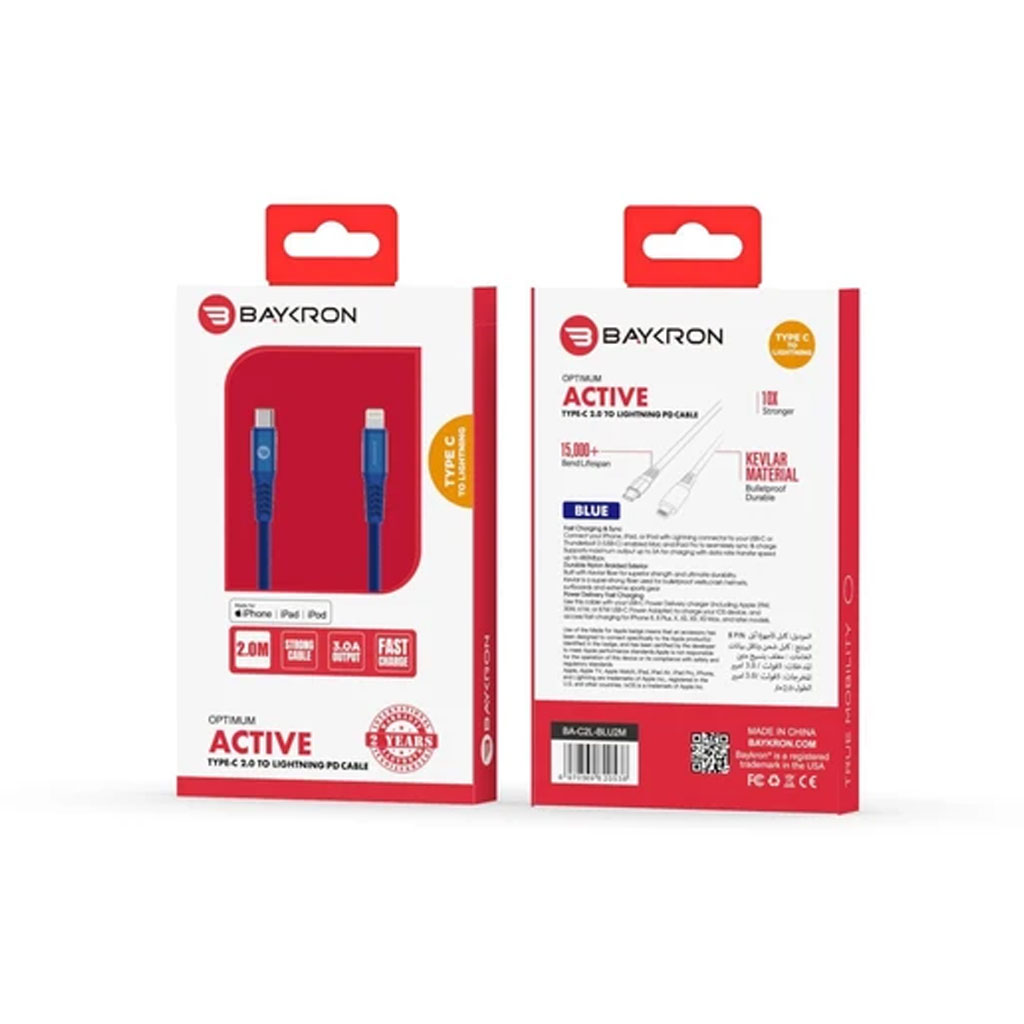 Baykron Cable Type C To Lightning 2 M - Blue