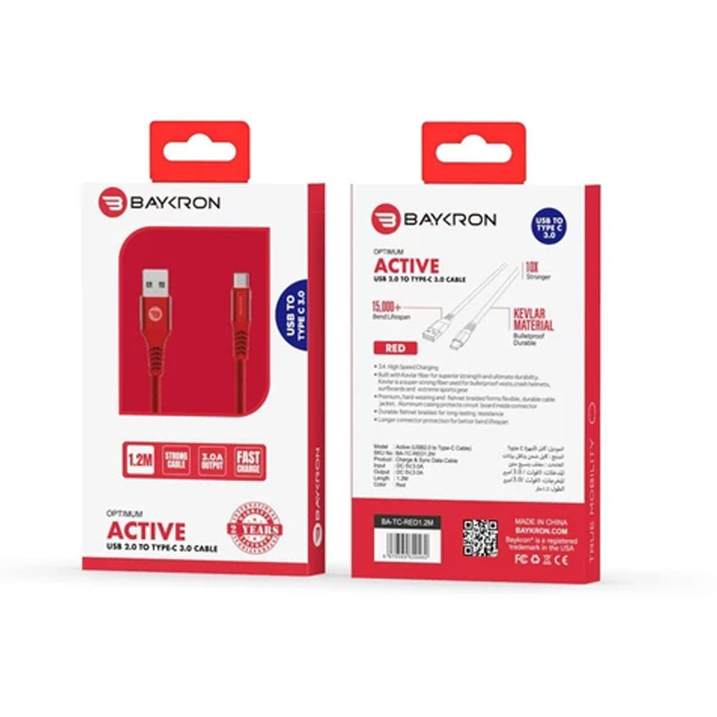 Baykron Cable Usb A To Type C 1.2 M 3a - Red