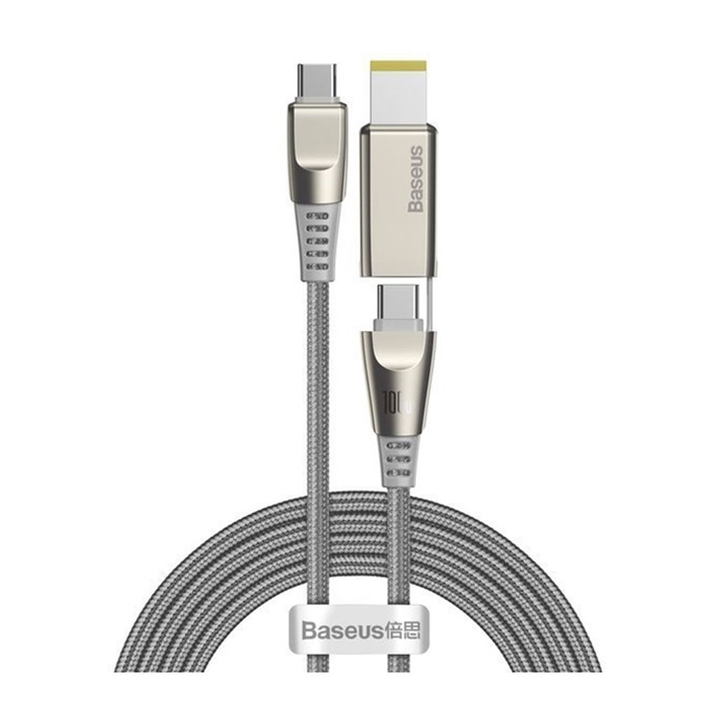 Baseus Ca1t2-b0g Flash Series Fast Charging Data Cable Type-c To C+dc 100w 2m - Grey