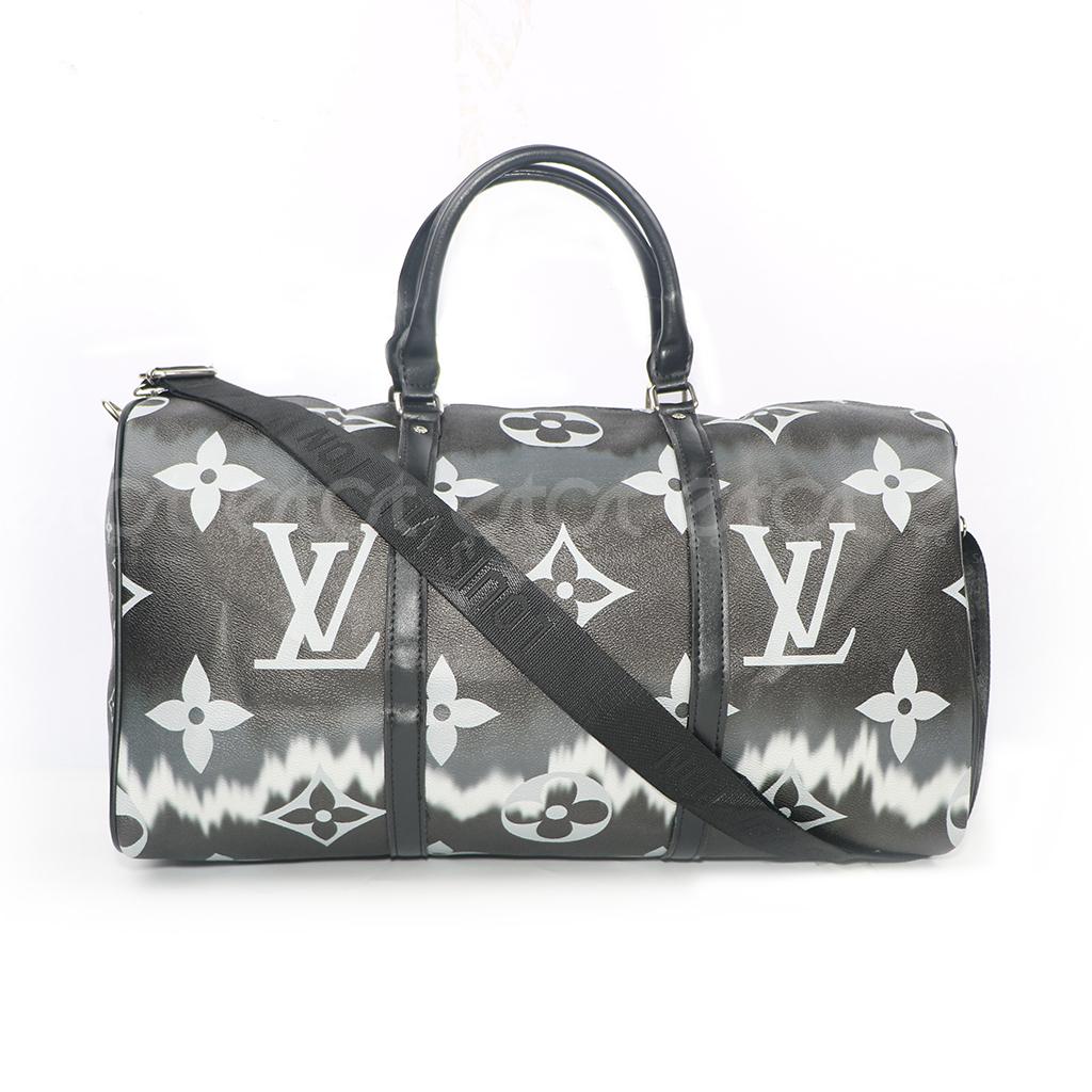 Louis Vuitton Keepall 45 32l Monogram Canvas New Fashion And Stylish Unisex Macassar Travel & Business Printed Bag (black-white Large Print)