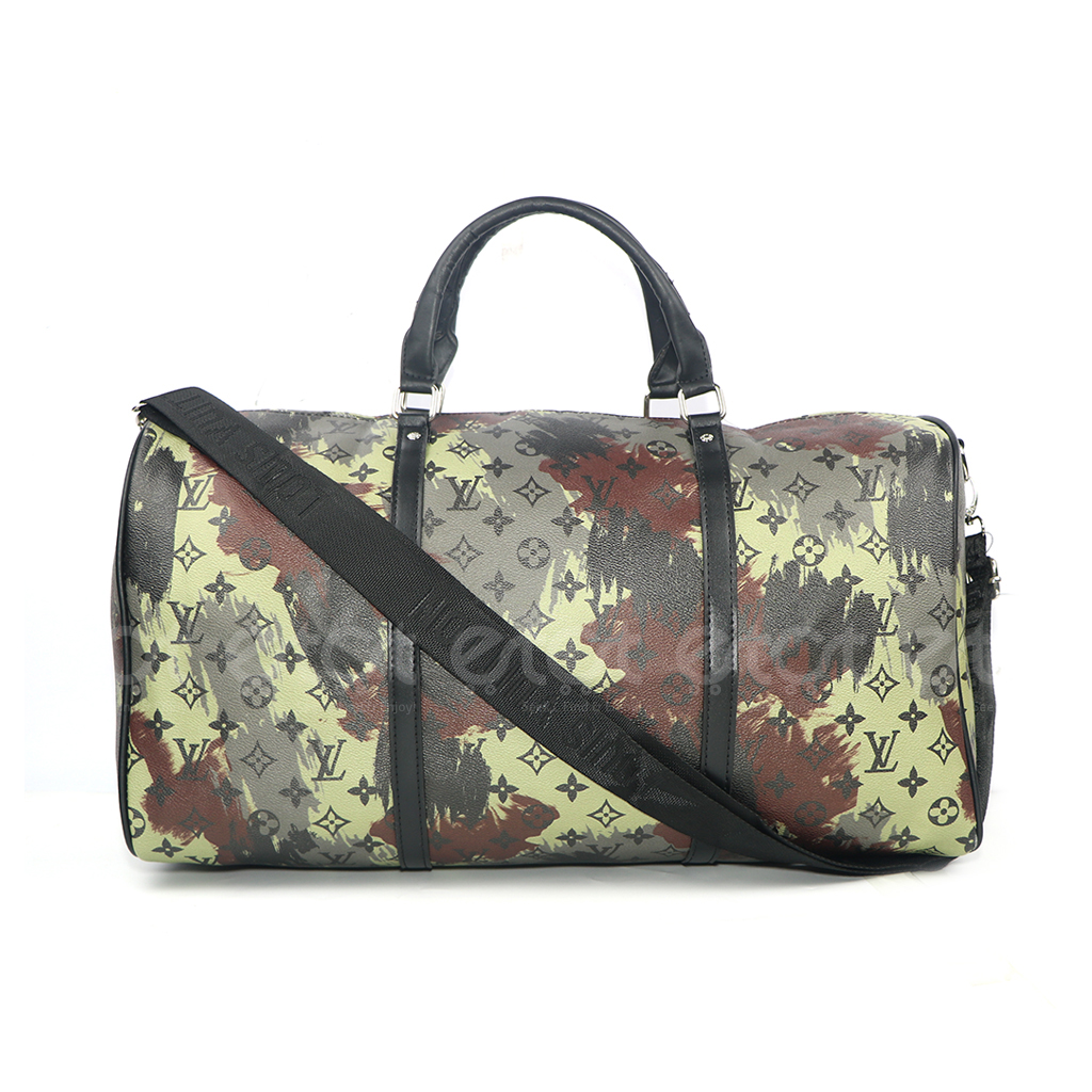 Louis Vuitton Keepall 45 32l Monogram Canvas New Fashion And Stylish Unisex Macassar Travel & Business Printed Bag Multi Color-black Small Print)
