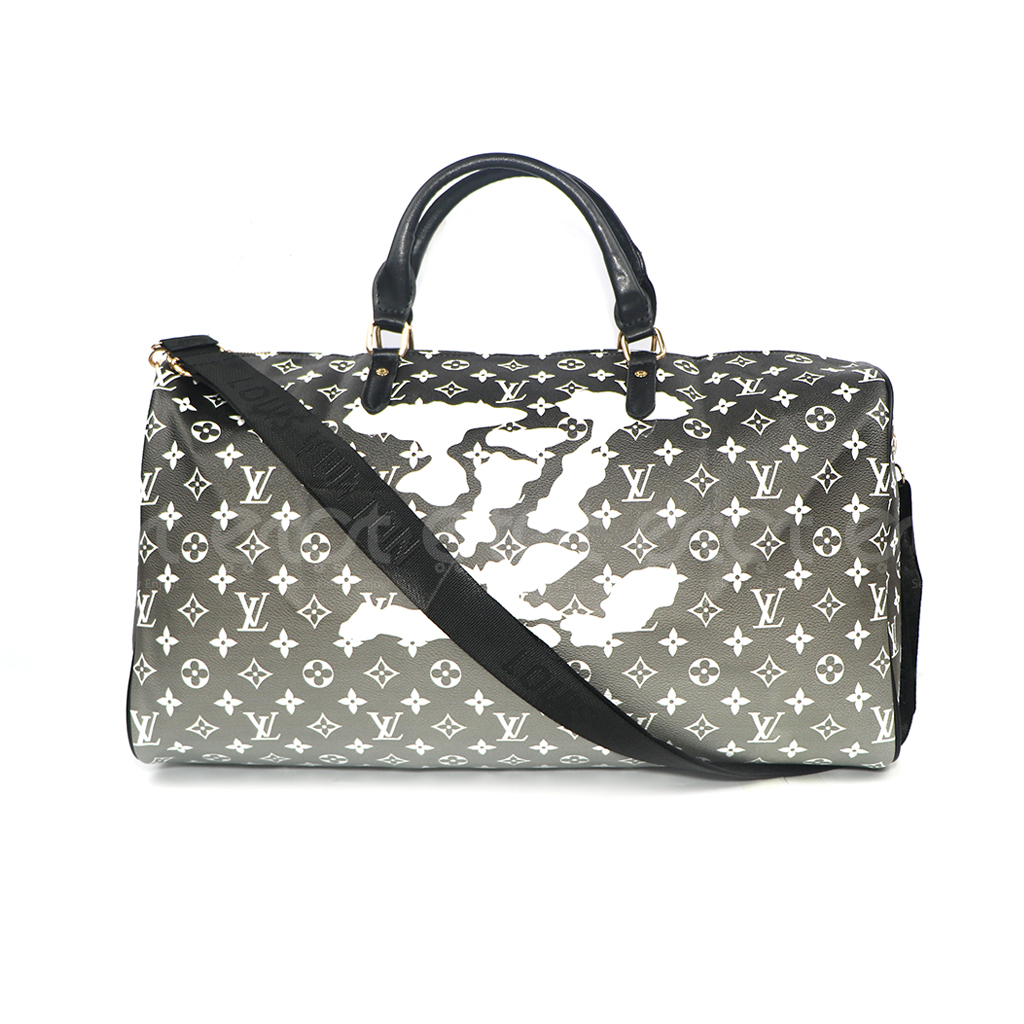 Louis Vuitton Keepall 45 32l Monogram Canvas New Fashion And Stylish Unisex Macassar Travel & Business Printed Bag (gray & Black-white Small Print)