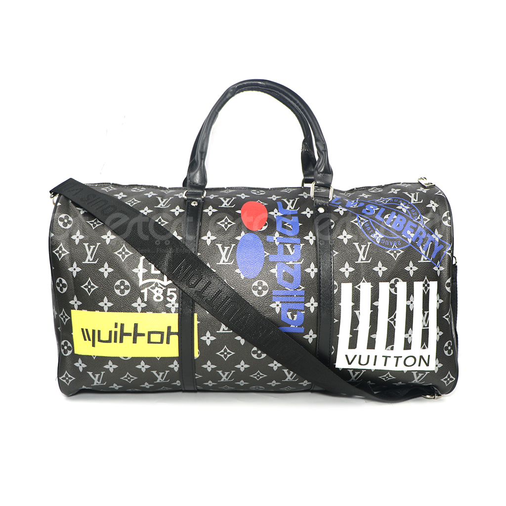 Louis Vuitton Keepall 45 32l Monogram Canvas New Fashion And Stylish Unisex Macassar Travel & Business Printed Bag (black-multi Print)
