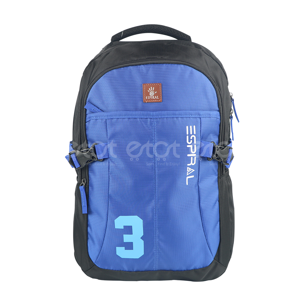 Espiral 202402 3series Nylon Fabric Super Light Weight Traveling School College Backpack (black & Blue)