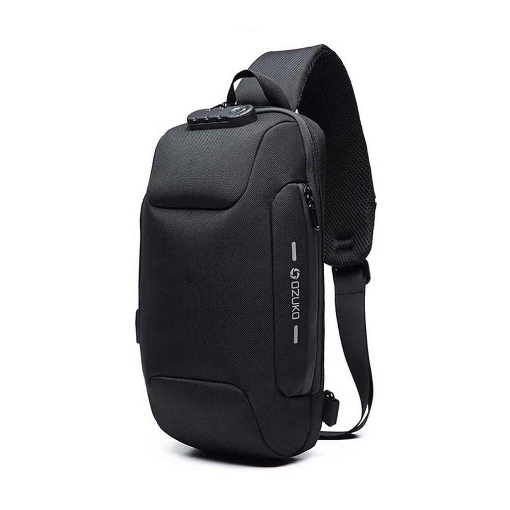 Ozuko Oz9223 Fashion Messenger Anti-theft Usb Charging Port Stylish And Professional Waterproof Crossbody Shoulder Bags (black)