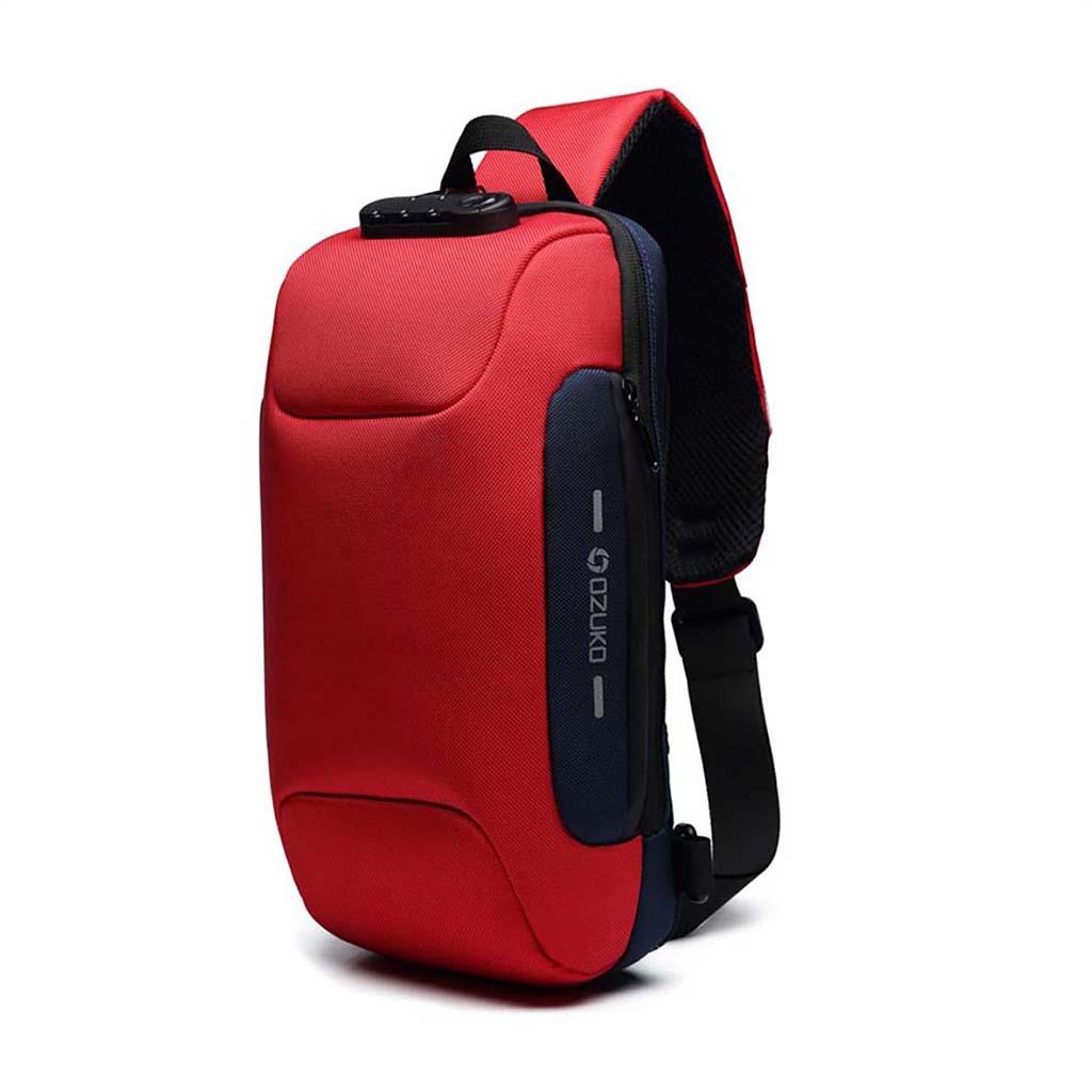 Ozuko Oz9223 Fashion Messenger Anti-theft Usb Charging Port Stylish And Professional Waterproof Crossbody Shoulder Bags (red)
