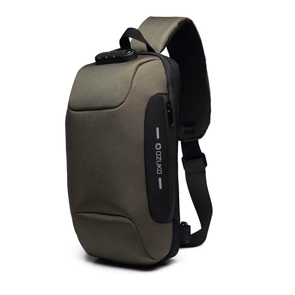 Ozuko Oz9223 Fashion Messenger Anti-theft Usb Charging Port Stylish And Professional Waterproof Crossbody Shoulder Bags (army Green)