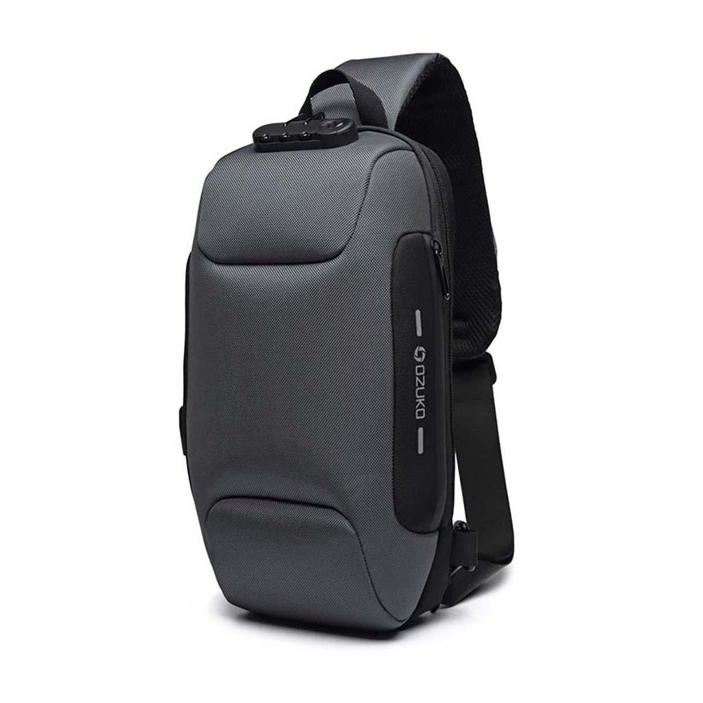 Ozuko Oz9223 Fashion Messenger Anti-theft Usb Charging Port Stylish And Professional Waterproof Crossbody Shoulder Bags (grey)