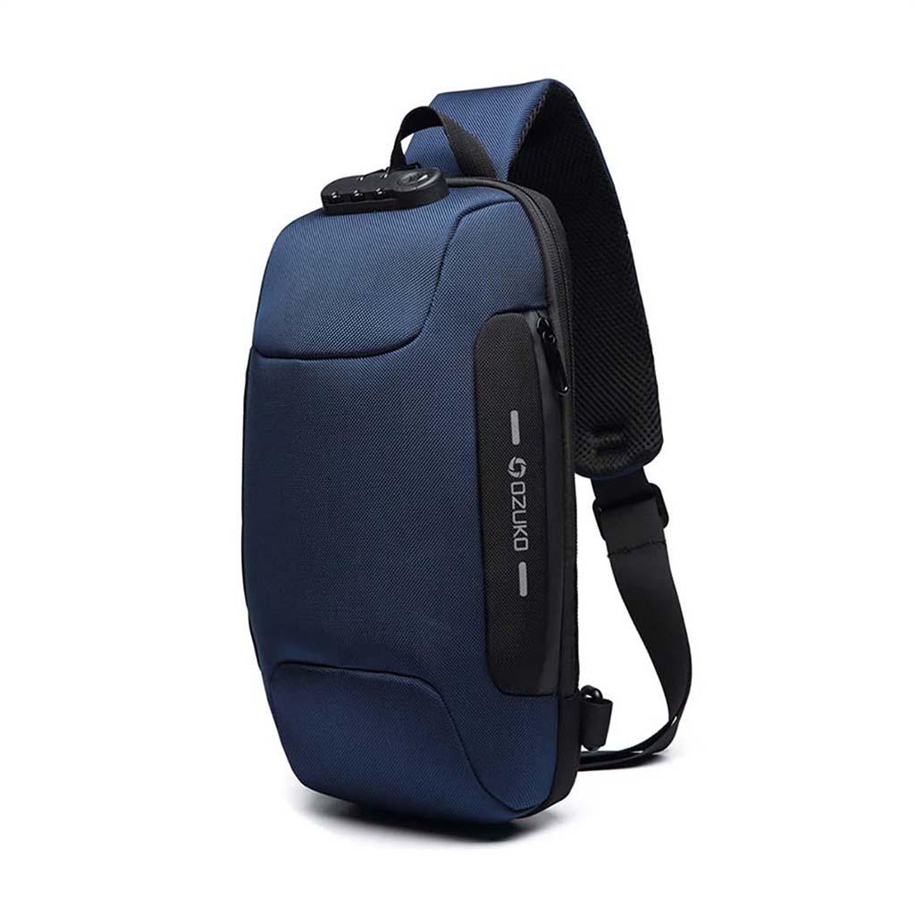 Ozuko Oz9223 Fashion Messenger Anti-theft Usb Charging Port Stylish And Professional Waterproof Crossbody Shoulder Bags (blue)