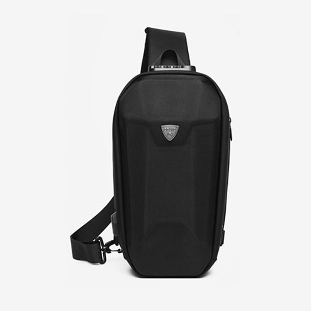 Ozuko 9321 Sublimation Custom Messenger Usb Charging Port Fashion Tactical Stylish And Professional Waterproof Crossbody Shoulder Bags (black)