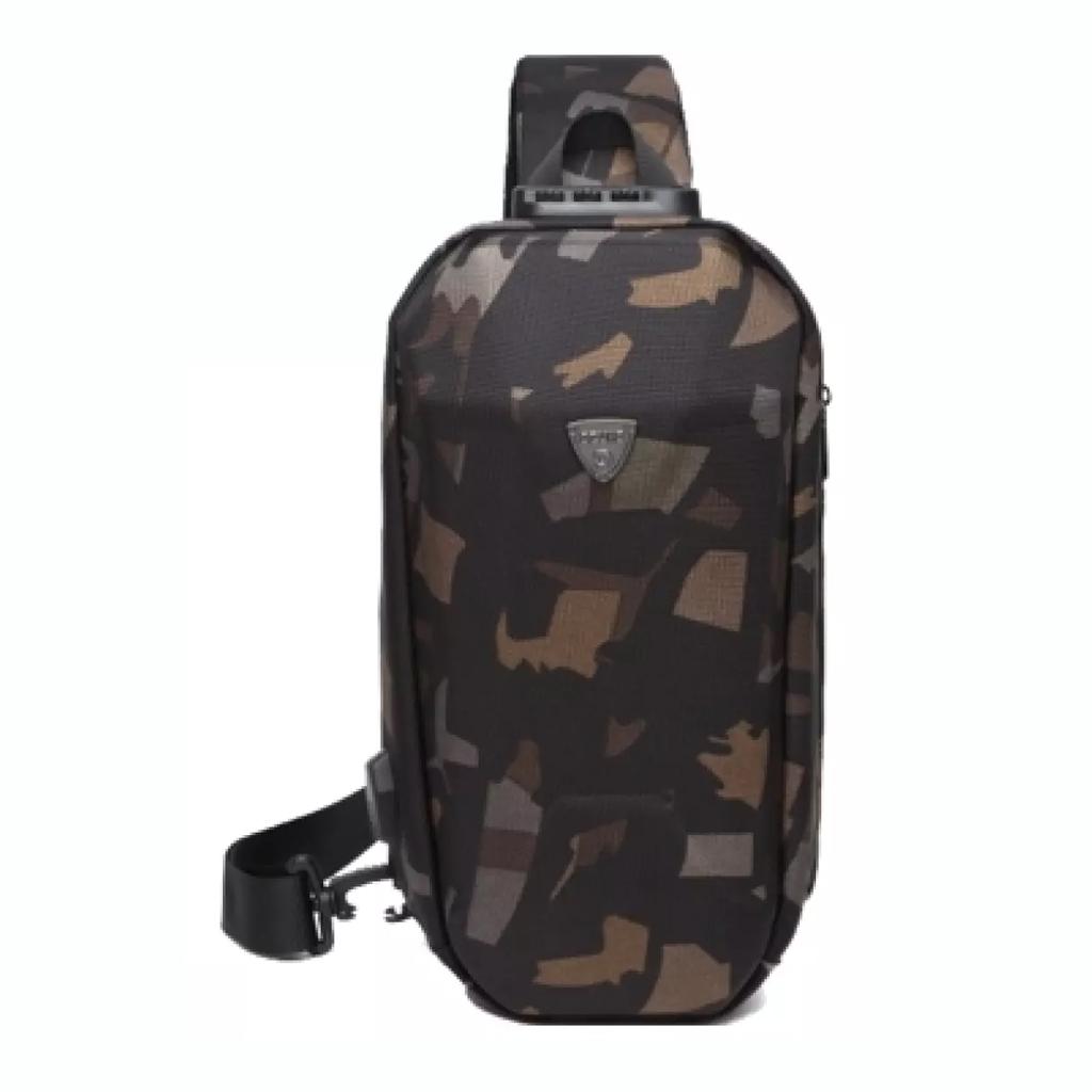Ozuko 9321 Sublimation Custom Messenger Usb Charging Port Fashion Tactical Stylish And Professional Waterproof Crossbody Shoulder Bags (camo)