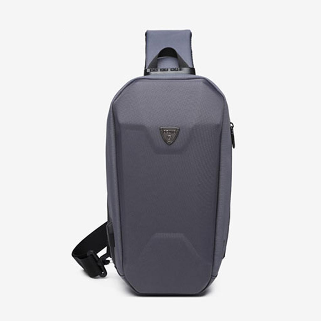 Ozuko 9321 Sublimation Custom Messenger Usb Charging Port Fashion Tactical Stylish And Professional Waterproof Crossbody Shoulder Bags (grey)