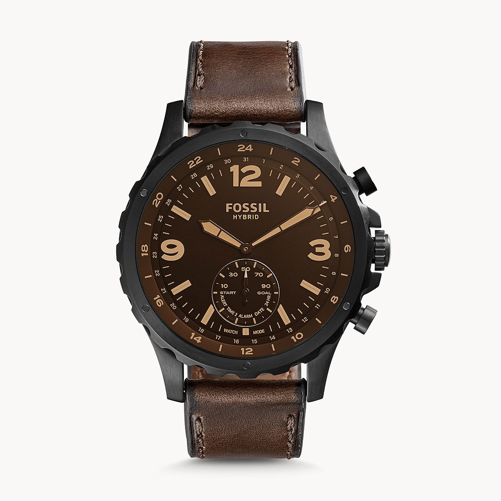 Fossil Hybrid Ftw1159 Commuter Leather Smartwatch