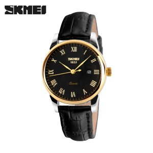 Skmei 9058gb Quartz Leather Fashion & Casual Water Resistant Watch