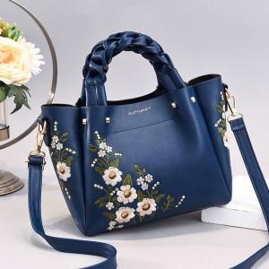 Pu Leather Embroidery Handbag - Blue