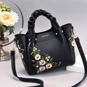 Pu Leather Embroidery Handbag - Black