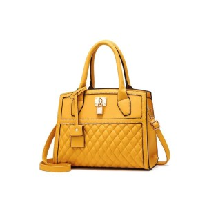 Lock Tote Handbags - Yellow