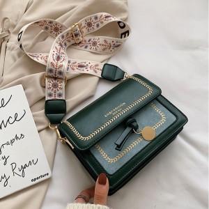 Pu Leather Crossbody Messenger Bag - Green