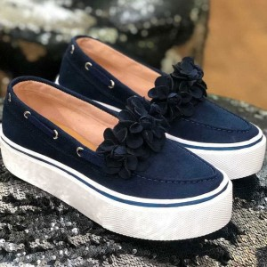 Thick Soled Flat Converse For Women - Navy Blue