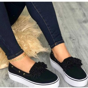 Thick Soled Flat Converse For Women - Black