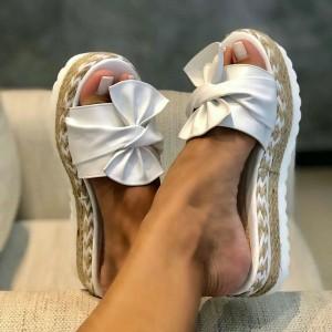 Summer Slipper Jute Heels - White