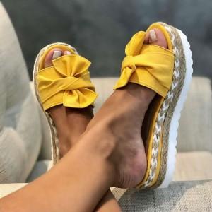 Summer Slipper Jute Heels - Yellow