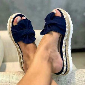 Summer Slipper Jute Heels - Navy Blue