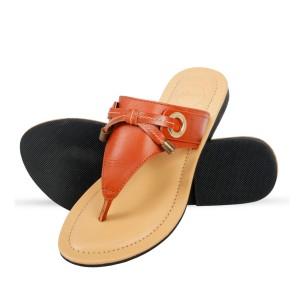 Corium Crm503 Trendy Ladies Flat Fashionable Sandal With Metalic Foil Print Upper (brown)